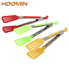 HOOMIN Stainless Steel Handle Utensil Non-Stick Kitchen Tongs Silicone Pizza Bread Steak Clip Salad Serving BBQ Tongs
