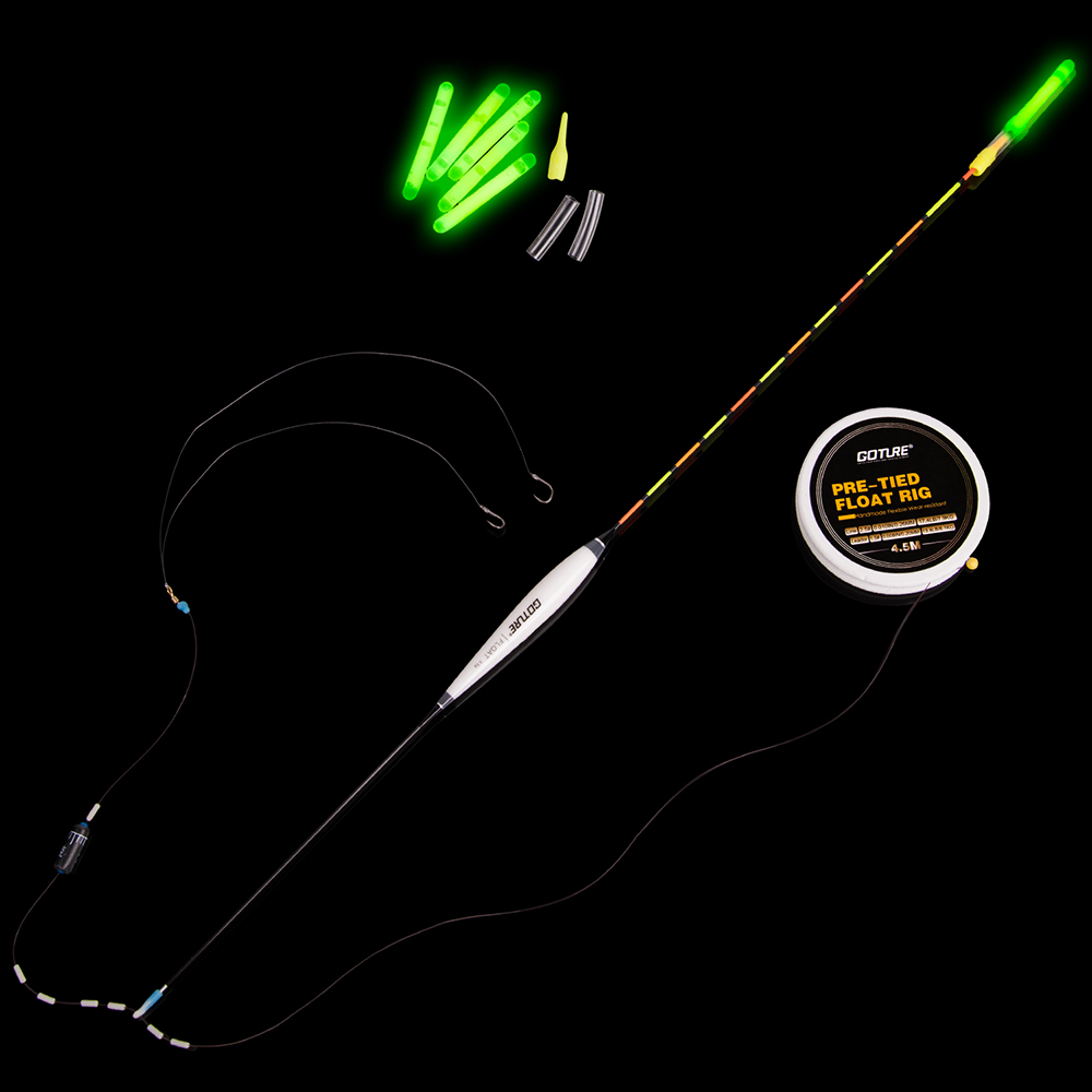 Goture Fishing Float +Pre-tied Fishing Rig with Main Line/Leader/Hooks+Chemical Night Light Stick Accessories For Carp Fishing