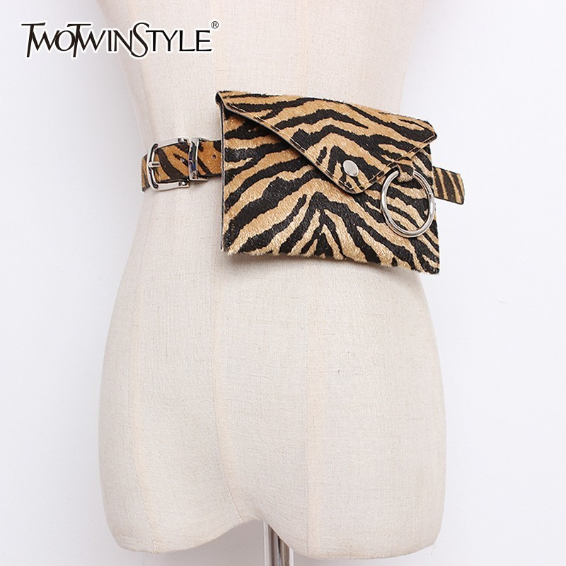 TWOTWINSTYLE Print PU Leather Women's Waist Belt Detachable Small Bag Wide Belt Female Fashion Tide 2020 Vintage Accessories New