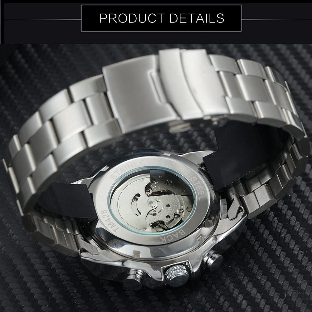 Image 4 - WINNER Official Business Automatic Mechanical Watch Men Date Display Top Brand Luxury Stainless Steel Strap Wristwatches 2019Mechanical Watches   -