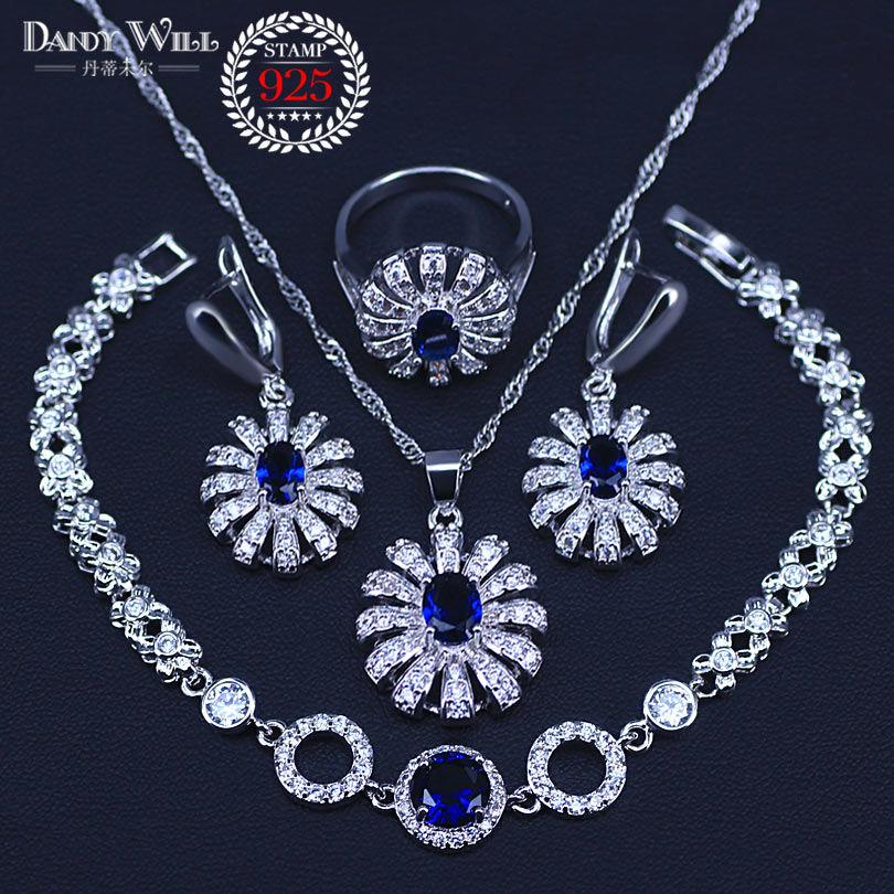 Blue Zircon Bridal Silver 925 Jewelry Sets Women Pendant&Necklace Ring Earrings With Natural Stones Bracelets Jewelery Gift Box
