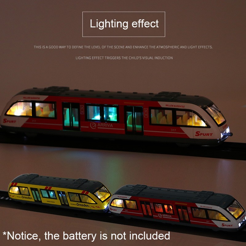 1:64 Magnetic Pull Back Alloy Connected Subway Metro Track Train Alloy Model Toys Sound & Light Car Collection HotWheeling image