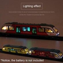 Tren de vías de Metro conectado, aleación con tracción trasera magnética 1:64, modelo de aleación, juguetes, sonido y luz, colección de coches