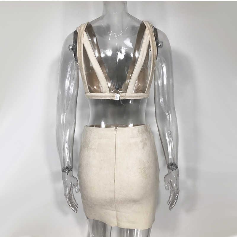 Newasia camurça bandage vestido feminino inverno sexy decote em v profundo duas peças conjunto boate mini vestido oco para fora vestido de festa 2 peça conjunto