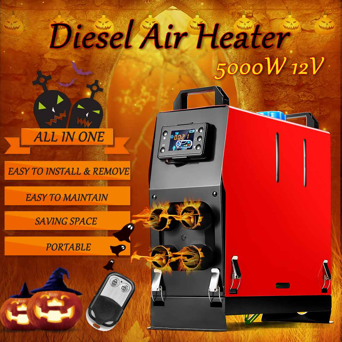 Все в одном 4 отверстия 5 кВт 12 В интеграция воздуха Дизели воздуха стояночный нагреватель ЖК-термостат переключатель автомобильный вентиля...