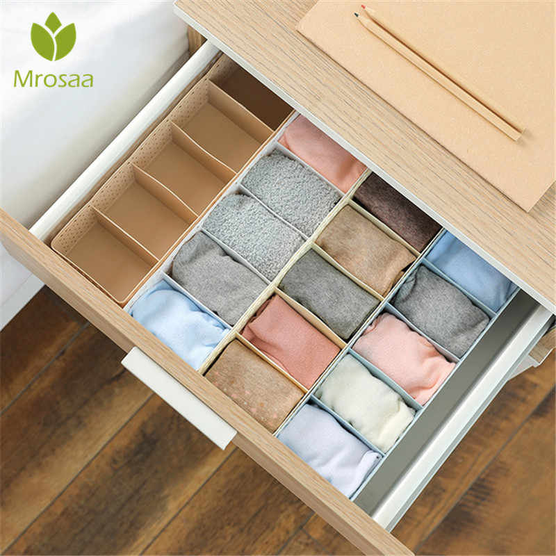 5 Grids Wardrobe Storage Box Basket Organizer Women Men Socks Bra Underwear Storage Box Plastic Container Organizer