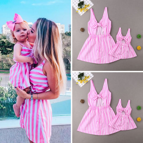 2019 New Fashion Summer Family Clothes Mother Daughter Sleeveless Stripe Bow Dresses Cotton Cute Clothes