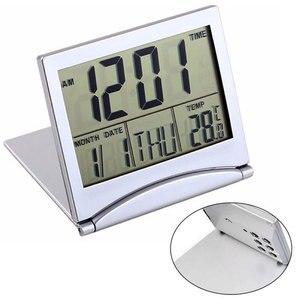 Image 1 - Mini składany LCD cyfrowy budzik zegar biurko stół stacja pogodowa biurko temperatura przenośny budzik podróżny