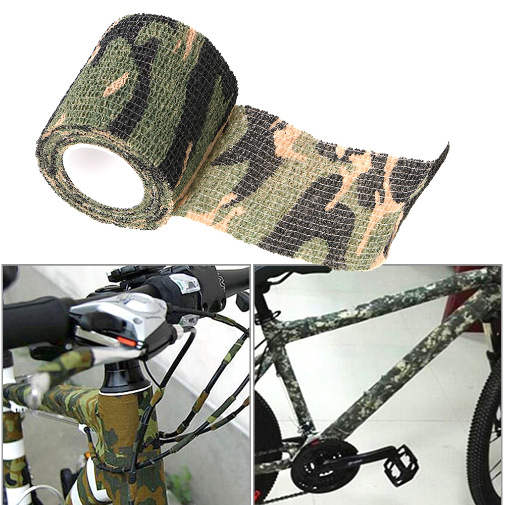 Non-Woven Car Stickers Retractable Camouflage Tape For Bike Bicycle Hunting Riding Self-Adhesive Auto Accessories
