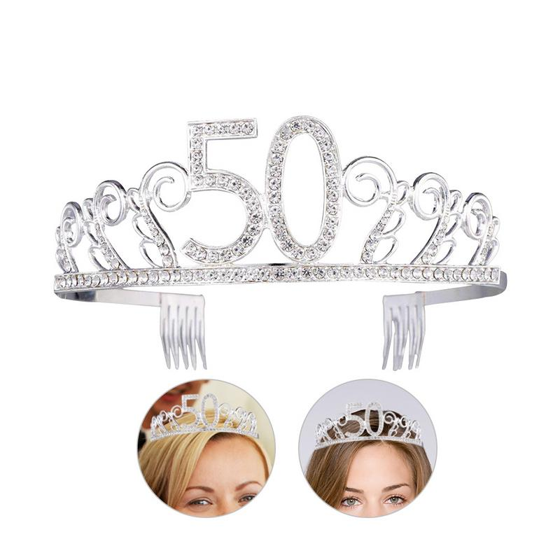 2018 New Digital 50 Bride Crown Popular Hot Rhinestones High-Grade Crown Headdress Wedding Accessories Tiara <font><b>50th</b></font> <font><b>Birthday</b></font> Crown image