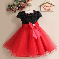 Female children's short sleeved bowknot princess dress sequins mesh yarn color matching flower girl dress girls christmas dress