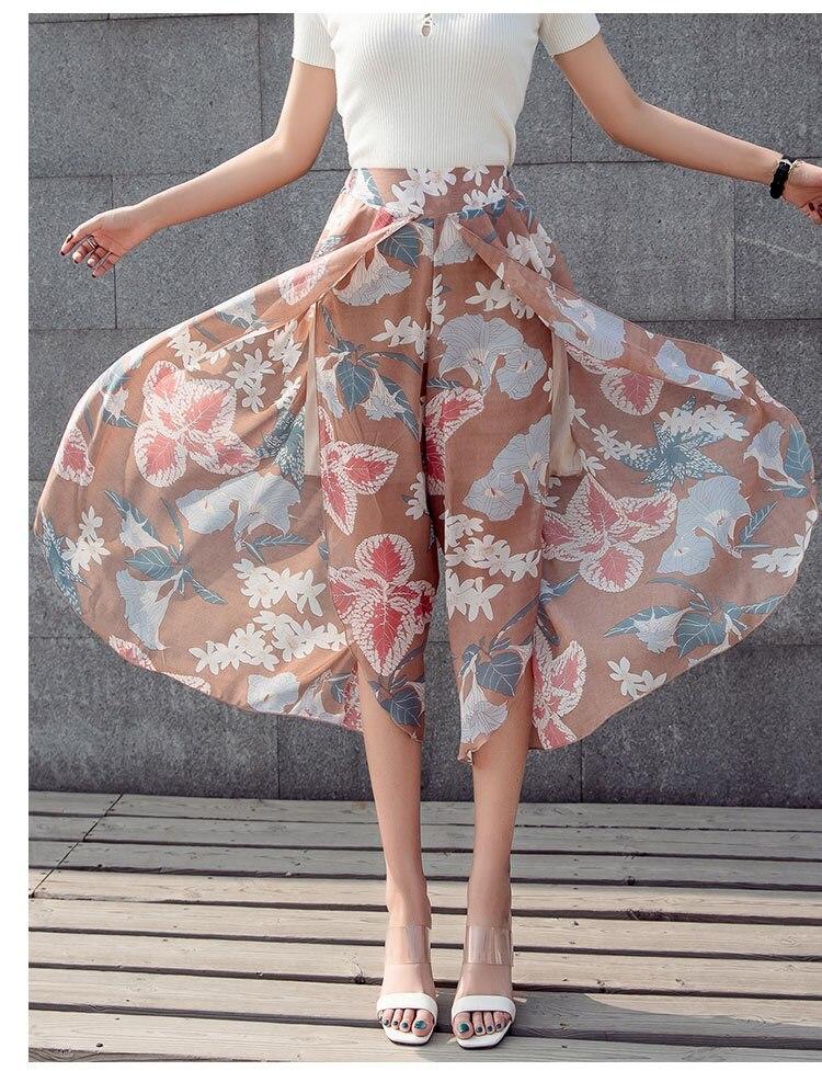 Plus Size Women Loose Chiffon Wide Leg   Pant   Casual High Waist Boho Trousers Bohemian 2019 Fashion Female Printed Harem   Pants