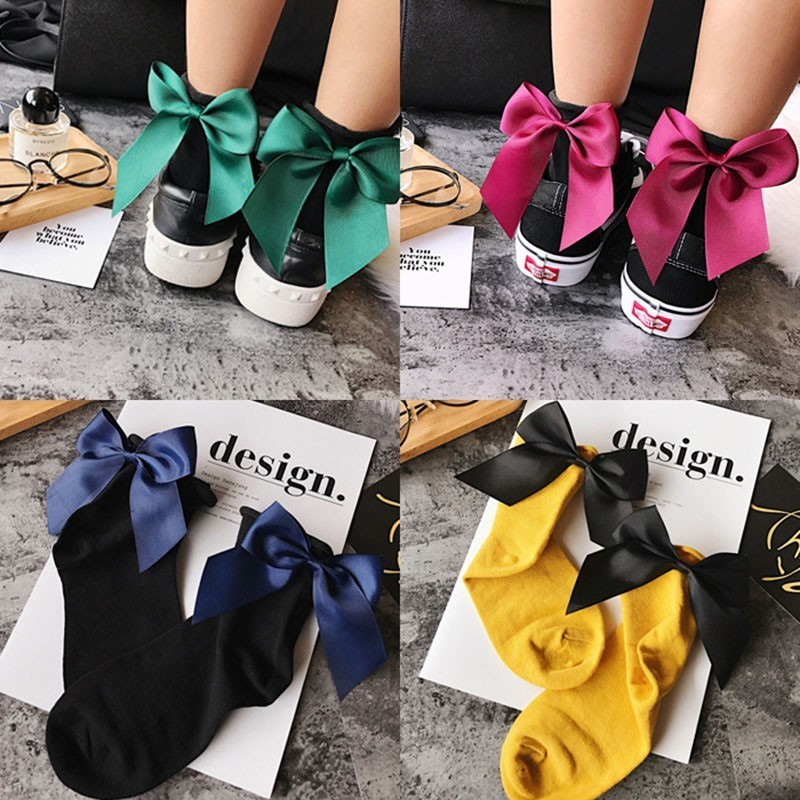 Colors Summer Women Socks After The Heel Ribbon Big Bow Short Socks Ladies Girls Wild Chaussette Female Herring Ankle Socks