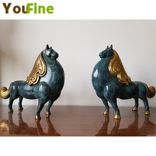 YOUFINE pure copper Tang horse decoration ornaments home color decorative crafts