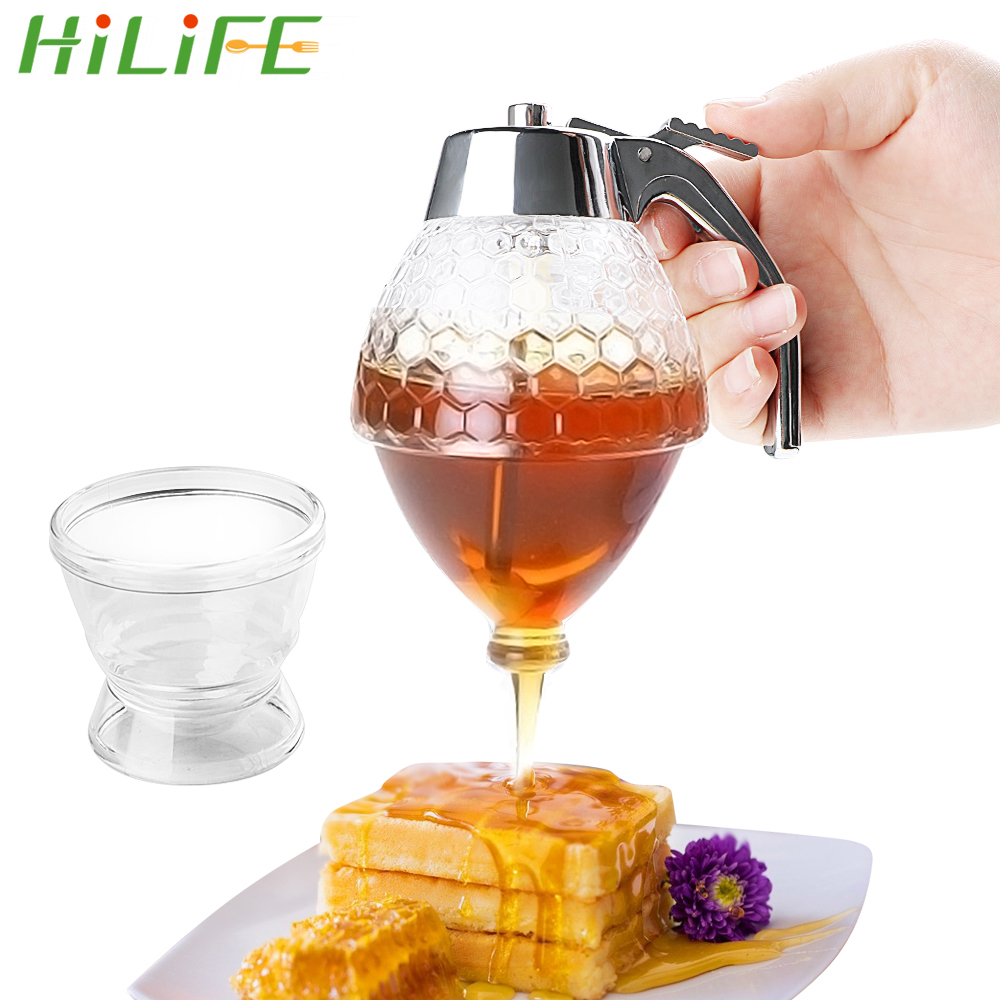 HILIFE Squeeze Bottle Honey Jar Container Bee Drip Dispenser Kettle Storage Pot Stand Holder Juice Syrup Cup Kitchen Accessories