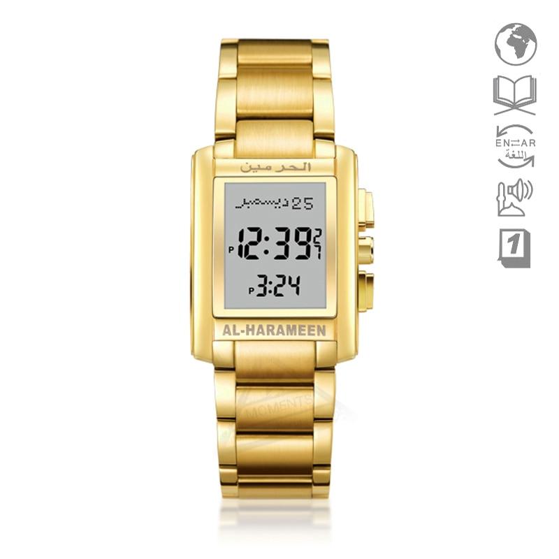 มุสลิมนาฬิกาข้อมือ Qibla เข็มทิศ 6208 สี่เหลี่ยมผืนผ้านาฬิกาสำหรับมุสลิม with Prayer Alarm & Azan เวลา-ใน นาฬิกาข้อมือดิจิตอล จาก นาฬิกาข้อมือ บน   1