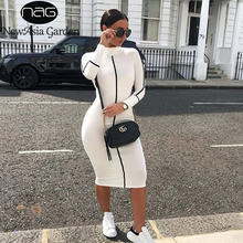 NewAsia White Casual Dress Women Turtleneck Long Sleeve Contrast Colors Midi Green Bodycon Pencil Streetwear