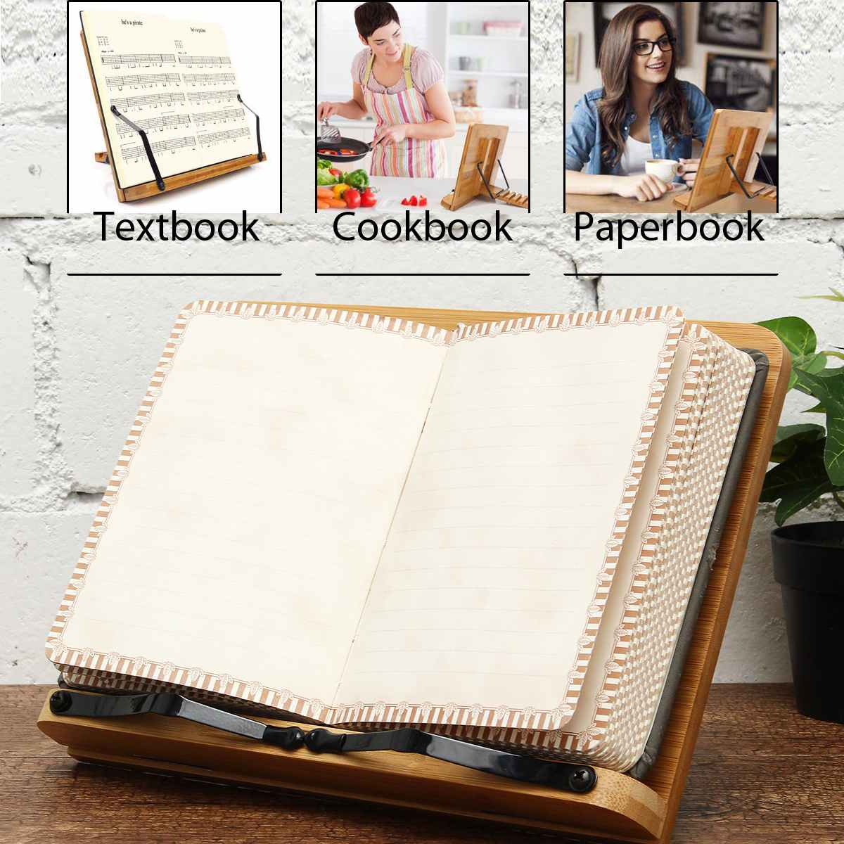 Portable Adjustable Books Reading Desk Bookends Standing Cookbook Music Score Textbook Bible Bamboo Book Holder Tray With Clip