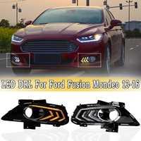 Белый и янтарный светодиодный DRL дневные ходовые огни с поворотным сигналом Противотуманные фары для Ford для Fusion для Mondeo 2013 2016