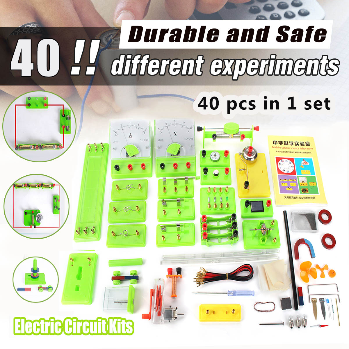 40pcs/set DIY Physics Experiments Electricity Learn Test Electromagnetic Physics Equipment Getting Started for Student Children40pcs/set DIY Physics Experiments Electricity Learn Test Electromagnetic Physics Equipment Getting Started for Student Children