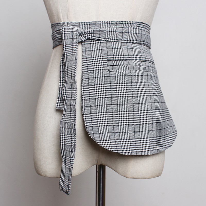 Girdle Yalee Pocket Long-Belts Spring Personality Fashion Women New Summer Plaid
