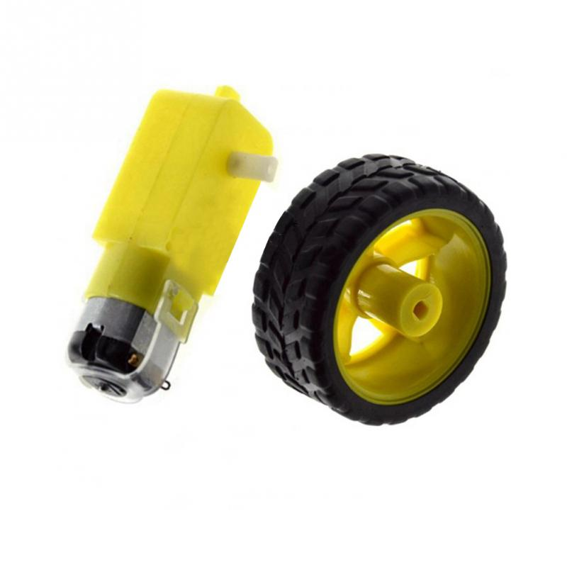 For Robot Smart Car Robot Plastic Tire Wheel Gear Motor With DC 3-6V For Arduino DIY Good Toughness Smart Car Chassis Kit