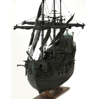 DIY Handmade Assembly Black Pearl Pirate Ship With LED Light 1:41 Scale Wooden Sailing Boat Building Model Kit for Children