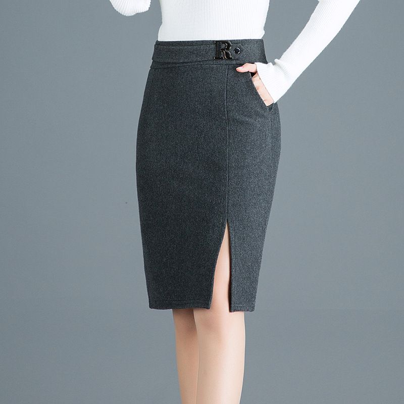 2019 Autumn&Winter Woolen Skirt Women Korea Slim Sexy High Waist Elastic Front Slit Pencil Skirt Plus Size Black Midi Skirts 3XL