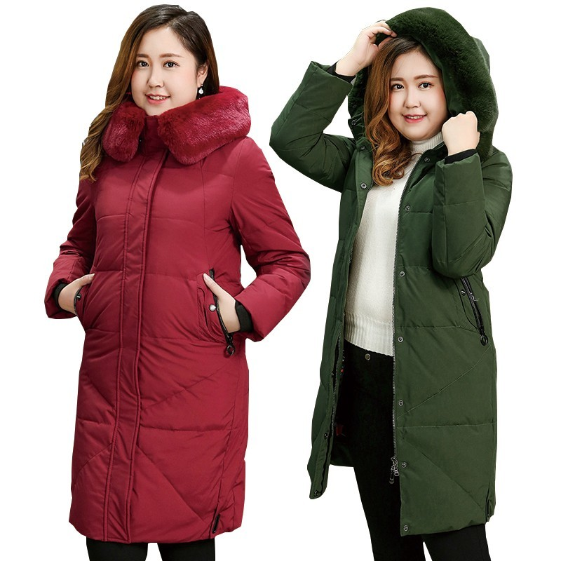 S-10XL Super Large Size   Down   Jacket Women Winter   Coat   Fur Collar Hooded Tops Plus Siz Thick Warm White Duck   Down     Coats   Female