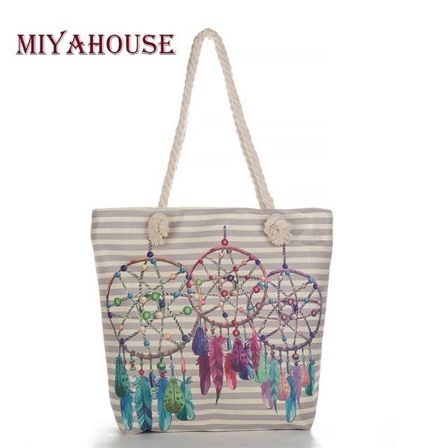 Miyahouse Bohemia Dream Catcher Handbag Women Canvas Feather Print Shoulder Bags Lady Summer Beach Bag Cotton Rope Handle