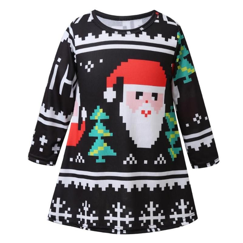 Christmas Mother Daughter Dress Santa Short Sleeve Xmas Family Matching Clothes