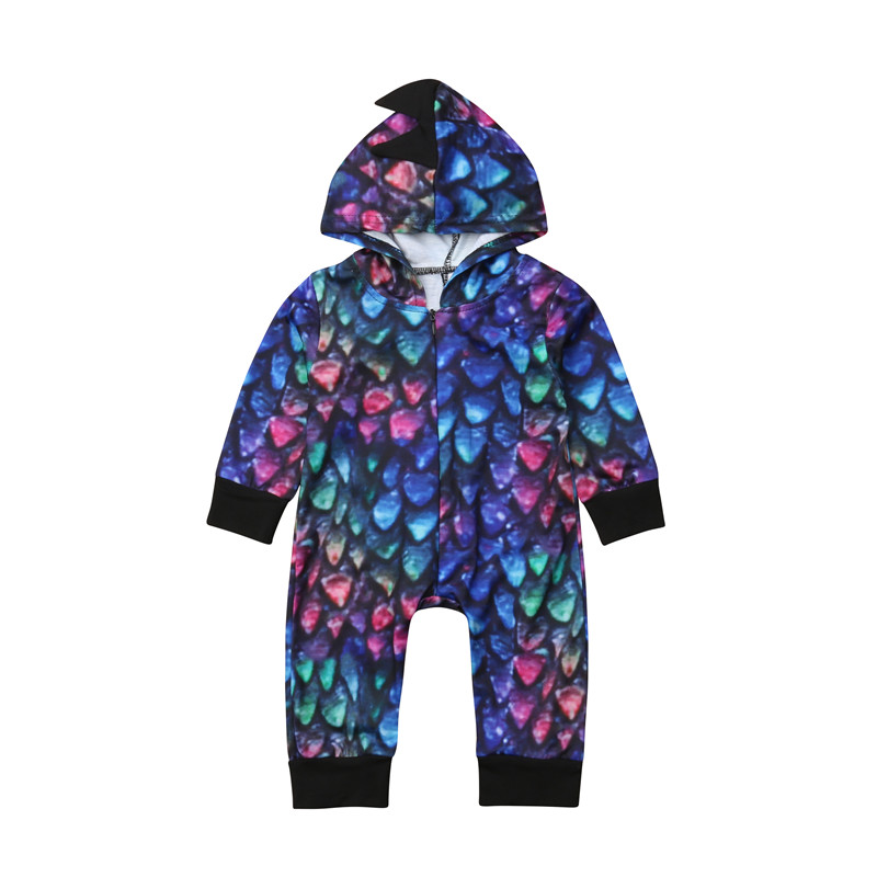 Newborn Baby Girl Boy Dinosaur   Romper   Jumpsuit Multicolor Long Sleeve Hooded Outfits Clothes