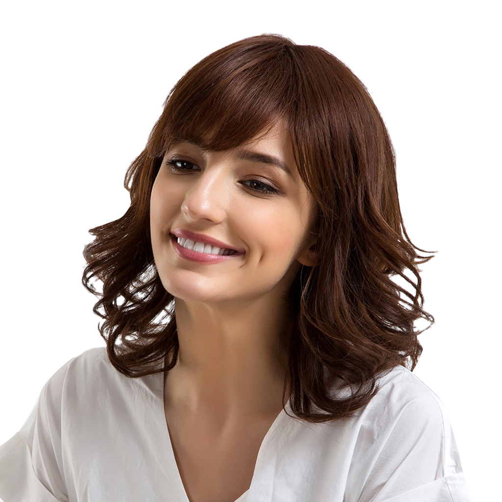 Natural Fluffy Wavy Loose Wave Layered Wig Short Wigs for Women Human Hair все цены