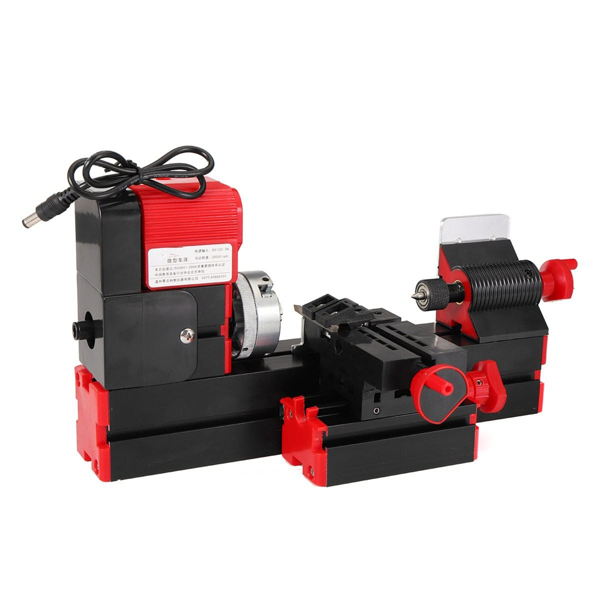 DC12V 3A 36W Mini Lathe Milling Machine Torn Drill Wood Engraving Power Tool Didactical DIY Lathes Woodworking Metal Chuck Lathe