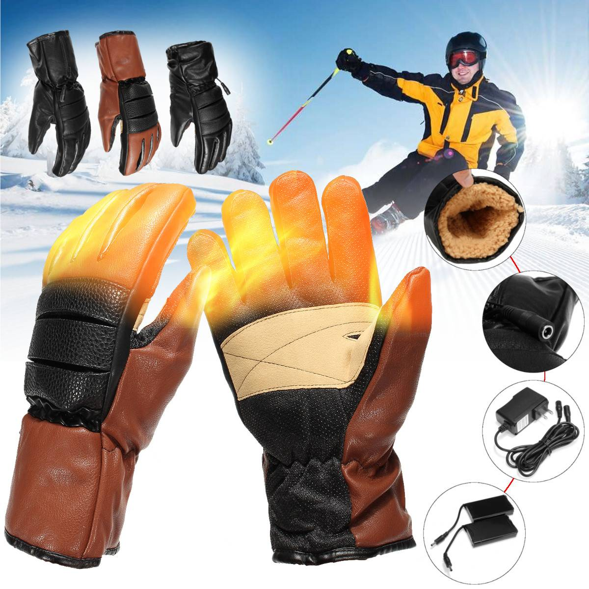 Gants chauffants électriques d'hiver PU cuir femmes hommes Rechargeable 3000 mAh batterie mitaines chauffantes chaudes intérieur épaissir gants en coton - 2