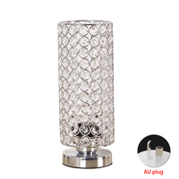 Night Light Bedroom Lampshade Silver Bedside Nightstand Desk Lamp