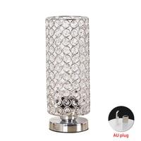 Night Light Bedroom Lampshade Silver Bedside Nightstand Desk Lamp