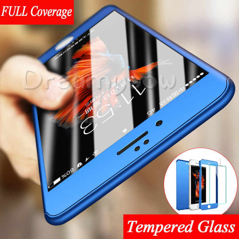 360 Degree Full Cover Case For iPhone Xs Max Xr 6S 6 Plus 5S 5 S SE Case Hard PC Tempered Glass Cover For iphone 7 8 Plus Cases