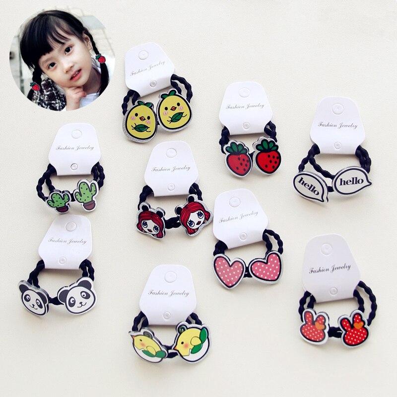 Elastic Hair Band Hair Accessories Resion Girls Korean Hair Rope Cute 2PCS/Pack   Sale