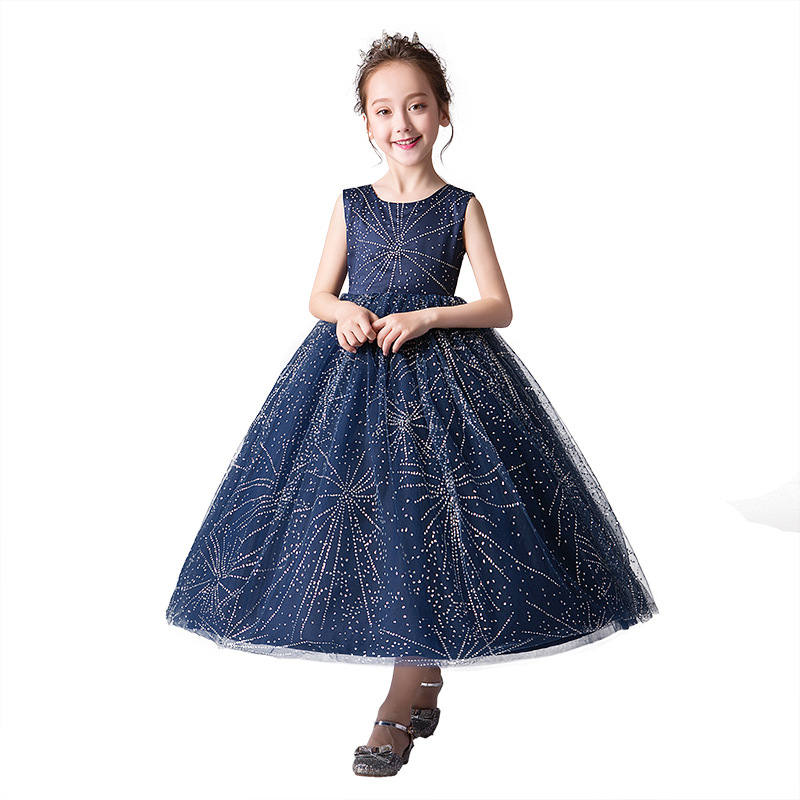 shine sequin red blue graduation party gown age for 6 16 yrs teenage girl summer vintage long dress kids frocks lace girls dress