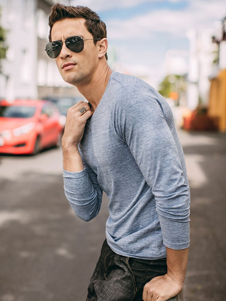 Autumn Men T Shirt Cotton V-Neck Blue Color For Man Casual Long Sleeve Slim Fit T-Shirt Male Wear 2018 New Tops Tee Shirt 268 2