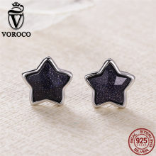 VOROCO Vintage Night Sky Star Stud Earring 925 Sterling Silver Aventurine Small Earrings For Women Wedding Style Luxury Jewelry(China)