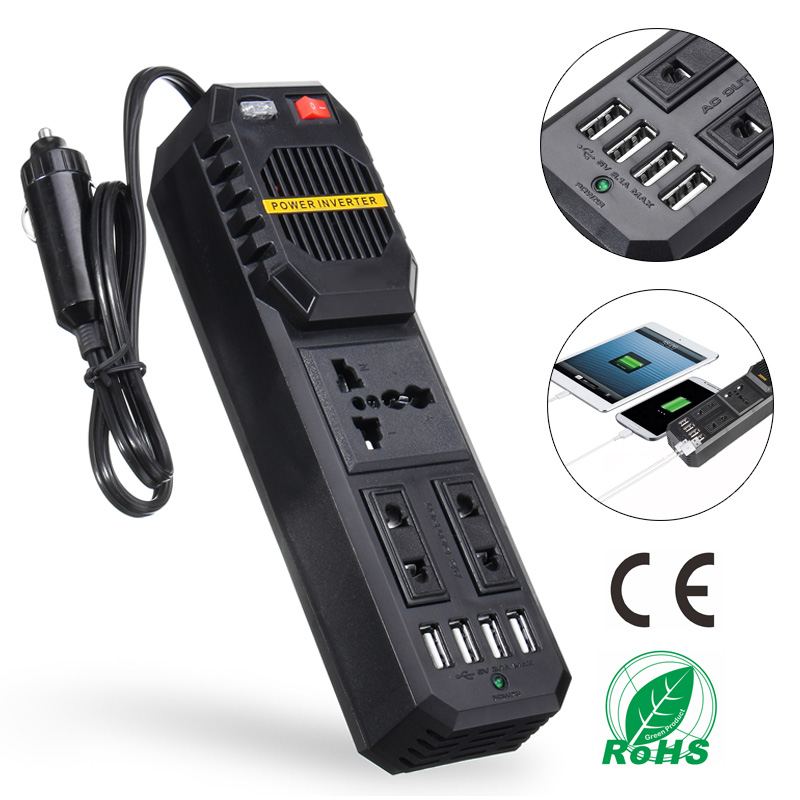 200W Car Power Inverter 12V to 220V DC to AC Converter 4 USB Port 5V 3.1A Charger Square Wave Adapter