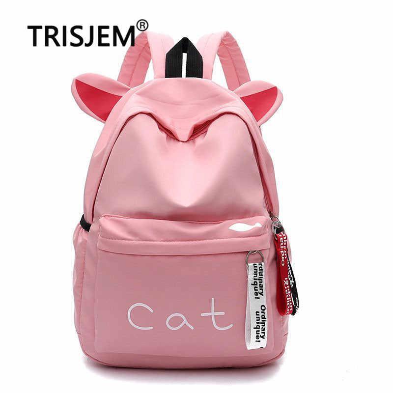 0a2a103f7111f TRISJEM New Cat Backpack School Bag Ear Rucksack Kawaii Cats PackBag  Backpacks For Girls Lovely Bagpack