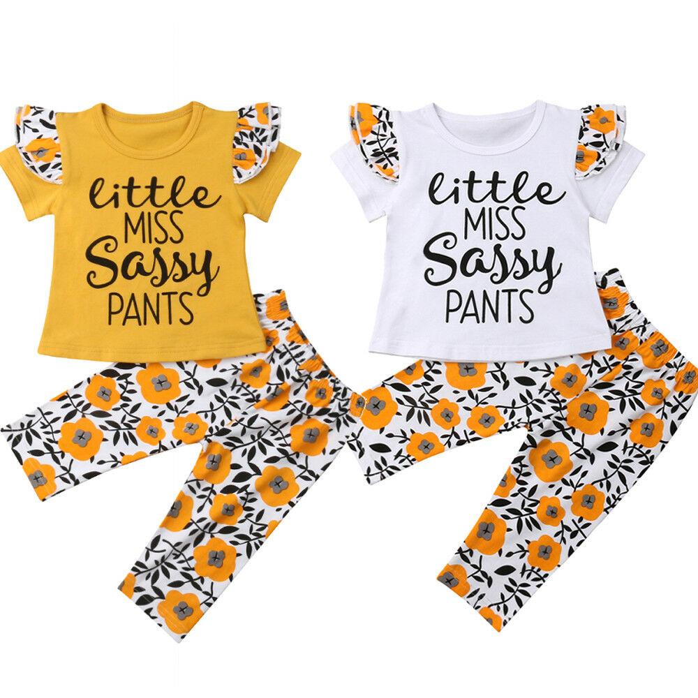 US Toddler Kids Baby Girl Sassy Tops T-Shirt Shorts Pants Outfits Clothes Summer