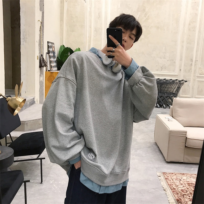 2019 Spring Korean Men Casual Loose Solid Color Fake Two Pieces Pullover Cotton Sweatshirt Lapel Long Sleeve Hoodies Male M-2XL