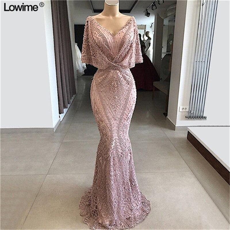 2019 nouveau Dubai robes De soirée formelles sirène arabe dentelle v-cou robes De bal avec perles longue Robe De soirée sur mesure
