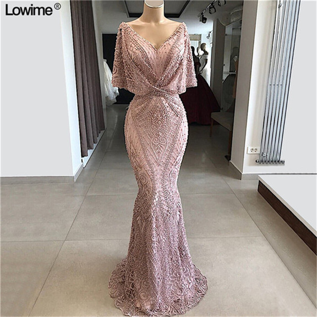 Wholesale Mermaid Dubai Couture Formal Party Gowns Custom Made Lace Evening Dresses Abendkleider Aibye Arabic Prom Dress Vestido