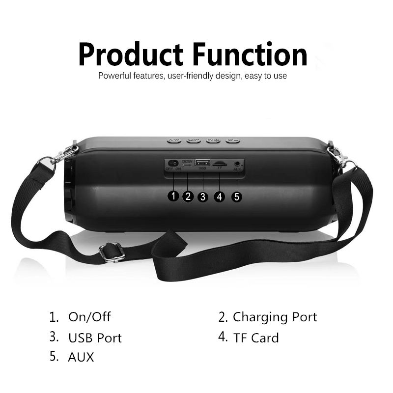 Outdoor Portable Wireless Bluetooth Speaker Stereo Big Power 10W System Tf Card Music Subwoofer Column Speakers Cycling Speake