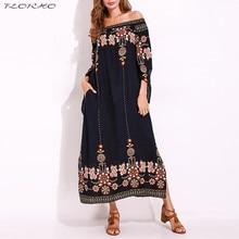 Off-Shoulder Dress Vestido Long-Sleeve Floral-Print Bohemian Vintage Plus-Size Casual